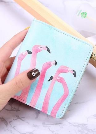 Новый классный короткий кошелек розовый фламинго акварель, маленький бумажник