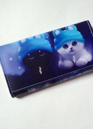 Новый длинный большой кошелек на магните с милыми котиками, бумажник с котиком