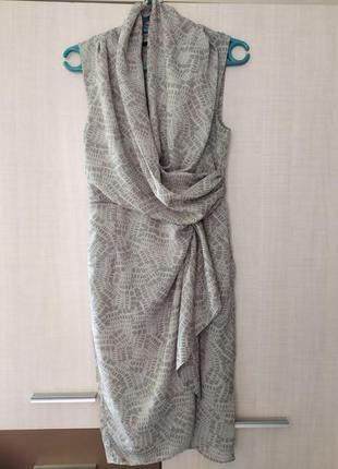 Платье серое с драпировкой и на запах hm