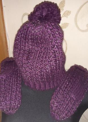 Фіолетовий набір шапка та рукавички avon машинна вязка