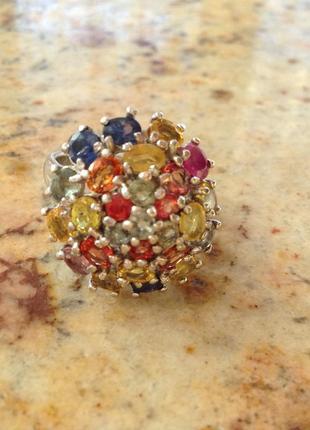 Серебряное кольцо с цветными натуральными сапфирами общий вес 36 карат чистота vvs