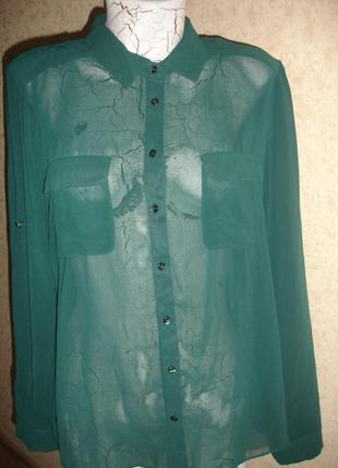 Фирменная стильная блузка бутылочного цвета на 50-52 размер