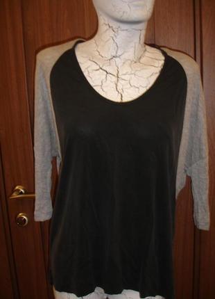 Фирменная от zara стильная блузка реглан на 48-50 размер