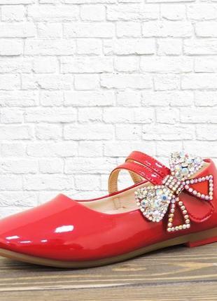Эффектные туфельки для модницы. красные. 16,5 см