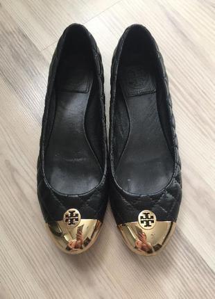 Черные кожаные стеганные балетки tory burch 36 оригинал бу