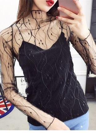 Чёрный прозрачный гольф сетка/ кофта сетка с принтом/ прозрачная блуза