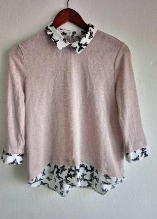Легкий розовьій весенний свитер