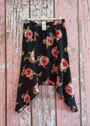 Шикарная вискозная юбка с цветочным принтом