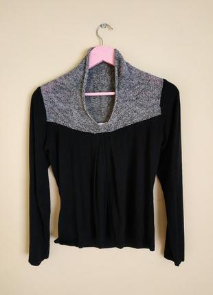 Кофта блузка черная серая блестящая