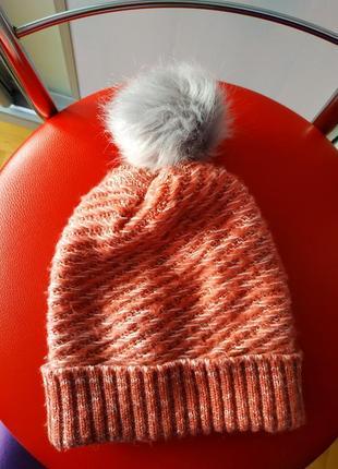 Шапка шапочка с помпоном розовая