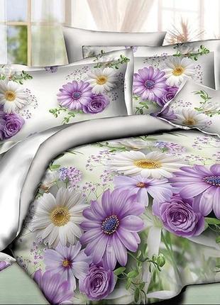 Постельное белье ранфорс рамашки розы цветы