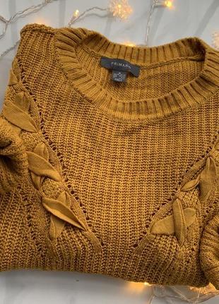 """🍂горчичный свитер с плетением от """"primark""""🍁"""