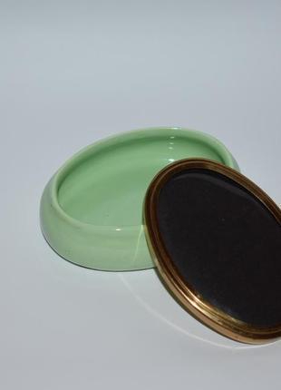 Шикарная мини шкатулка с крышкой фарфор металл позолота frame coast made in u.k. винтаж