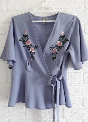 Блузка  - вышиванка с запахом  и рукавами - крылышками   asos