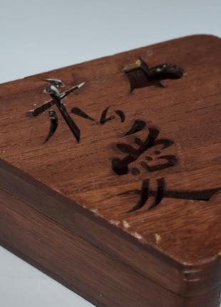 Интересная красивая шкатулка дерево иероглифы kodama studio винтаж