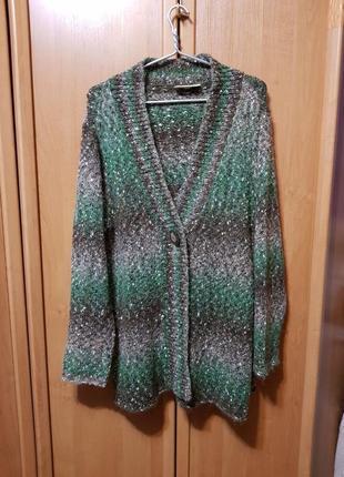 Прикольный вязаный кардиган большой размер, кофта, большая серая зеленая накидка, свитер