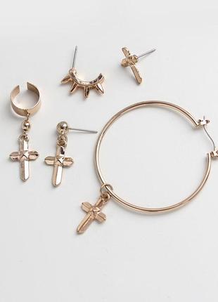 Серьги кресты - набор сережек крест - сток, крестики, серьги в виде крестов