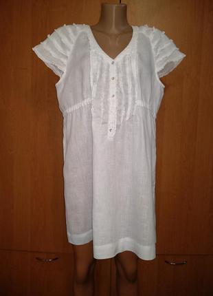 Воздушное льняное платье туника лён пог=57 см
