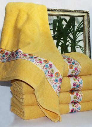 Полотенце махровое весна желтое. 2 размера