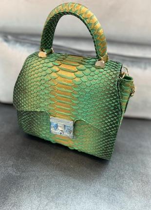 Красивенная сумка из премиум кожи питона 3д, яркая и сочная малышка