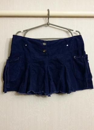 Вельветовая мини юбка с кармашками denim co