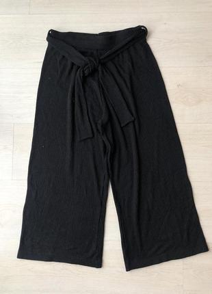 Черные трикотажные кюлоты брюки штаны бриджи amisu
