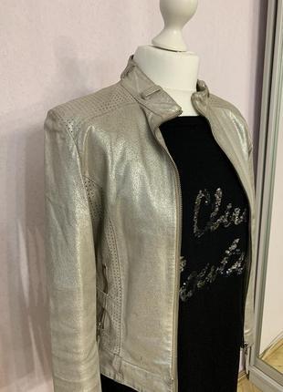 Кожаная куртка кожанка серебро италия