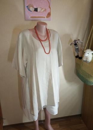 Платье туника в эко стиле лен