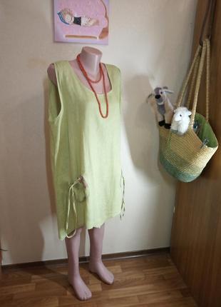 Платье туника лен  в эко стиле бохо италия