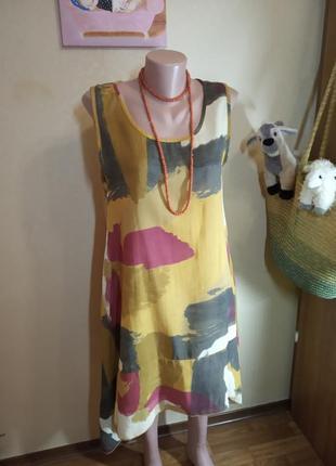 Платье не стандартного кроя италия лен