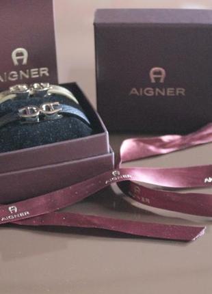 Фирменный набор браслетов aigner, 100% оригинал. кожа.