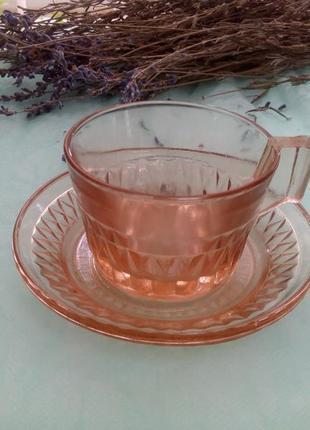 Кофейная пара (чашка и блюдце) ссср карамельное стекло
