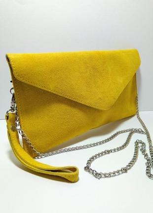 Кожаная сумка клатч натуральный замш в стиле zara
