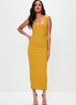 Платье макси,цвет горчица.
