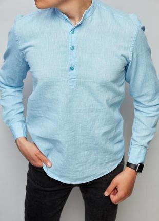 Рубашка мужская льняная на короткой застежке 18018 с регулировкой рукава