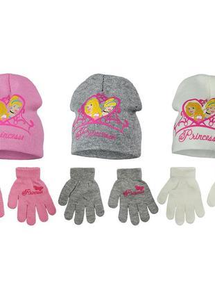 Демисезонный комплект, двойная шапка и перчатки на девочек, принцессы, disney / princess