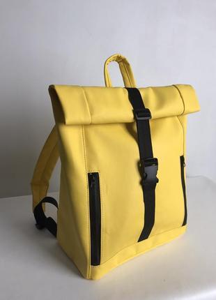 Женский желтый рюкзак ролл для ноутбука, экокожа