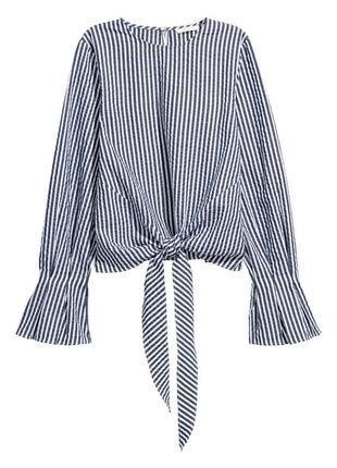 Полосатый топ с узлом рубашка блузка с расклешёнными рукавами