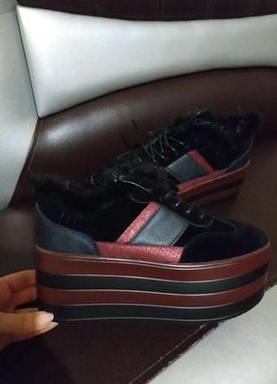 Шикарные ботинки деми з натуральним опушком