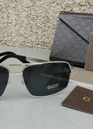 Gucci очки мужские солнцезащитные поляризированые черные в металлической оправе