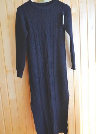 Теплое платье с шерстью и разрезами по бокам