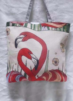 Сумка из ткани летняя с рисунком фламинго