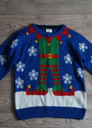 Новогодний свитер эльф f&f 6-7 лет