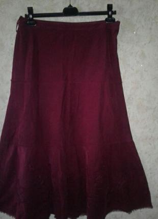 Шикарная юбка вельветовая с шифоном