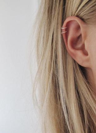 Каффы-серьги для ушей из серебра