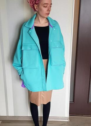 Модная кофта рубашка толстый трикотаж с начёсом бирюзовая минтол с сиренеой отделкой