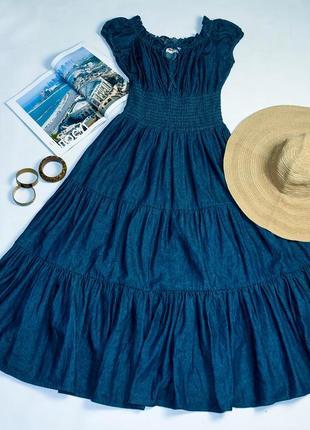 Джинсова сукня максі на резинці