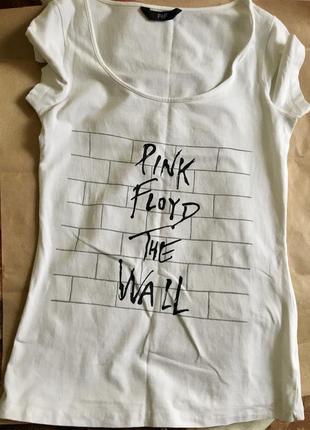 Футболка f&f pink floyd the wall лиса ручная роспись белая базовая