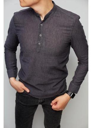 Рубашка мужская льняная на короткой застежке figo 18018-3 с регулировкой рукава
