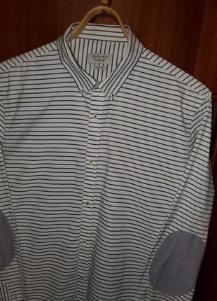 Рубашка белая в синюю полоску с налокотниками zara man slim fit (l)